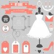 Wedding elements and signs for bride. — Stock Vector