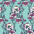 Floral vector pattern with poppy flower.  — Stockvectorbeeld