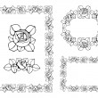 Vector set of frames with decorative art nouveau roses flowers. — Stock Vector