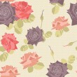 Seamless pattern with roses flowers.  — Stock Vector