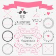 Valentine's day vintage design elements — Vettoriale Stock