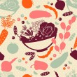 Seamless pattern with vector silhouettes of artistic vegetables. Vector background. — ベクター素材ストック