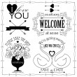 Wedding elements and signs — Stock Vector