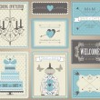 Vector collection of vintage wedding cards. — Stock Vector #31263941