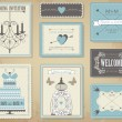 Vector collection of vintage wedding cards. — Stok Vektör