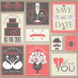 Wedding cards in red colors. — Stock Vector