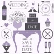 Wedding and dinner elements and signs — Stock Vector