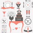 Decorative wedding and dinner elements and signs. — Stock Vector