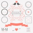 Vector set di elementi di design vintage wedding — Vettoriale Stock