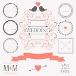 Vector conjunto de elementos de design vintage de casamento — Vetorial Stock