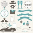 Vector set of decorative wedding elements — Stock Vector