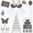 Decorative wedding elements and signs — Stock Vector