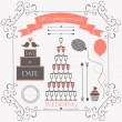 Wedding vintage design elements for wedding card  — Stock Vector