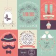 Vector set of decorative wedding card — Stock Vector