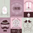 Vector set of decorative wedding cards in lavender colors. — Stock Vector #31264057