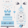 Decorative wedding cake, roses, cage and birds. — Vector de stock  #31264059