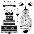 Vector set of wedding design elements for wedding card — Stock Vector