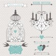 Wedding design elements with decorative cage, candles and birds. — Stock Vector
