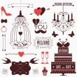Vintage collection of Vector wedding design elements. — Stock Vector