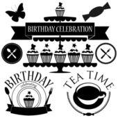 Vector set of birthday icons — Stock Vector