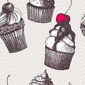 矢量无缝模式与手工绘制的蛋糕. — 图库矢量图片