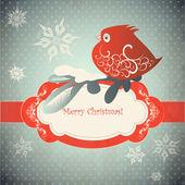 Winter bird and ornamental snowflakes — Stock Vector