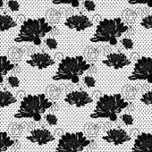 Delicate pattern with black roses flowers. — Stock Vector