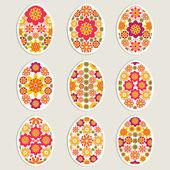 Vector collection of ornamental Easter eggs sticker. — Stock Vector