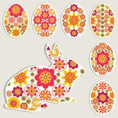 Vector collection d'oeufs de Pâques décoratifs et autocollant de lièvre. — Vecteur