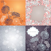 Vector set of vintage background. with ornamental dahlia flowers. — Vettoriale Stock