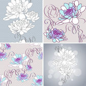 Vector set of vintage background. with ornamental dahlia flowers. — Stock Vector
