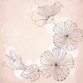 Marco romántico con flores de hibisco rosa. — Vector de stock