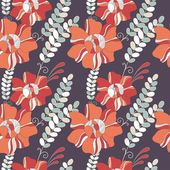 Seamless pattern with fantastic flowers and leaves. — Stock Vector