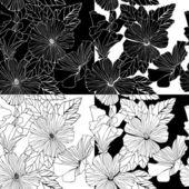 Vector set of decorative hibiscus flowers. — Stock Vector