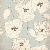 Decorative poppy flowers on grey background. — Vettoriale Stock