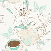Delicate pattern with cup, teapot and lily flowers. — Stock Vector
