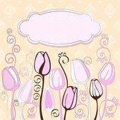 Ozdobny tulipan kwiaty i miejsce dla tekstu. — Wektor stockowy