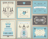 Vector collection of vintage wedding cards. — Stock Vector