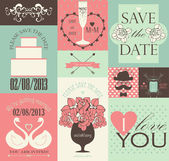 Vector collection de cartes de mariage. — Vecteur
