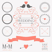 Vector set of wedding vintage design elements — Stock Vector