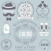 Decorative set of artistic wedding elements — Stock Vector