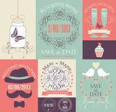 Vector set of decorative wedding card — Stock Vector