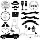 Vector set of black decorative wedding elements — Stock Vector