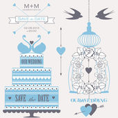 Decorative wedding cake, roses, cage and birds. — Stock Vector