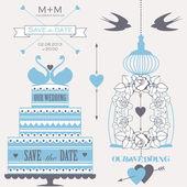 Dekoratif düğün pastası, gül, kafes ve kuşlar. — Stok Vektör