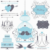 Wedding design elements with decorative wedding cake, flowers, candles and birds. — Stock Vector