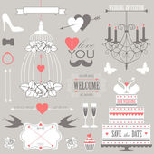 Vector collection of decorative wedding design elements. — Stock Vector
