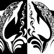 Two ornamental dolphins with decorative flourish elements on white and black background — Stock Vector