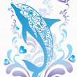 Ornamental blue dolphin with colorful flourish elements and decorative hearts on background — Stock Vector