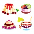 Set of desserts and cakes with different berries and fruits — Stock Vector #31451207